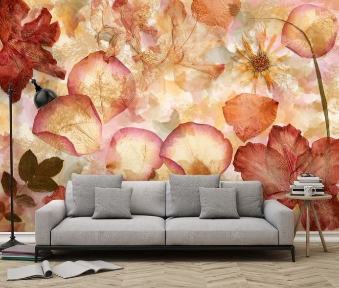 Non woven Dried Flowers wall mural Wallpapers